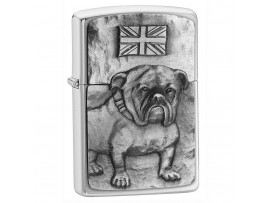 Zippo 200BULL British Bulldog Emblem Windproof Lighter - Brushed Chrome