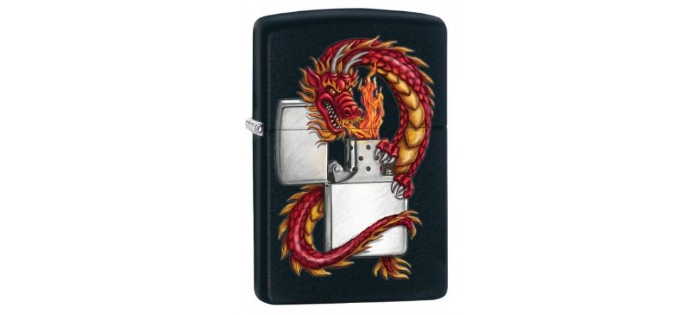 Zippo 218DRAG Dragon Windproof Lighter - Black Matte
