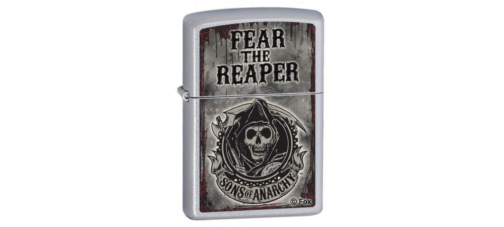 Zippo 28502 Sons of Anarchy Fear the Reaper Windproof Lighter - Satin Chrome