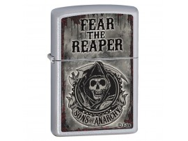 Zippo 28502 Sons of Anarchy Fear the Reaper Classic Windproof Lighter - Satin Chrome