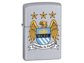 Zippo 205MCFC Manchester City FC Printed Crest Windproof Lighter - Satin Chrome