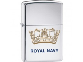 Zippo 250RN Royal Navy Crown Windproof Lighter - High Polished Chrome