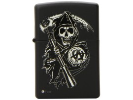 Zippo 28504 Sons of Anarchy Reaper Windproof Pocket Lighter - Black Matte