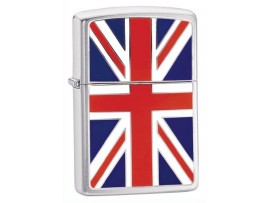 Zippo 200UJ Union Jack Emblem Windproof Lighter - Brushed Chrome