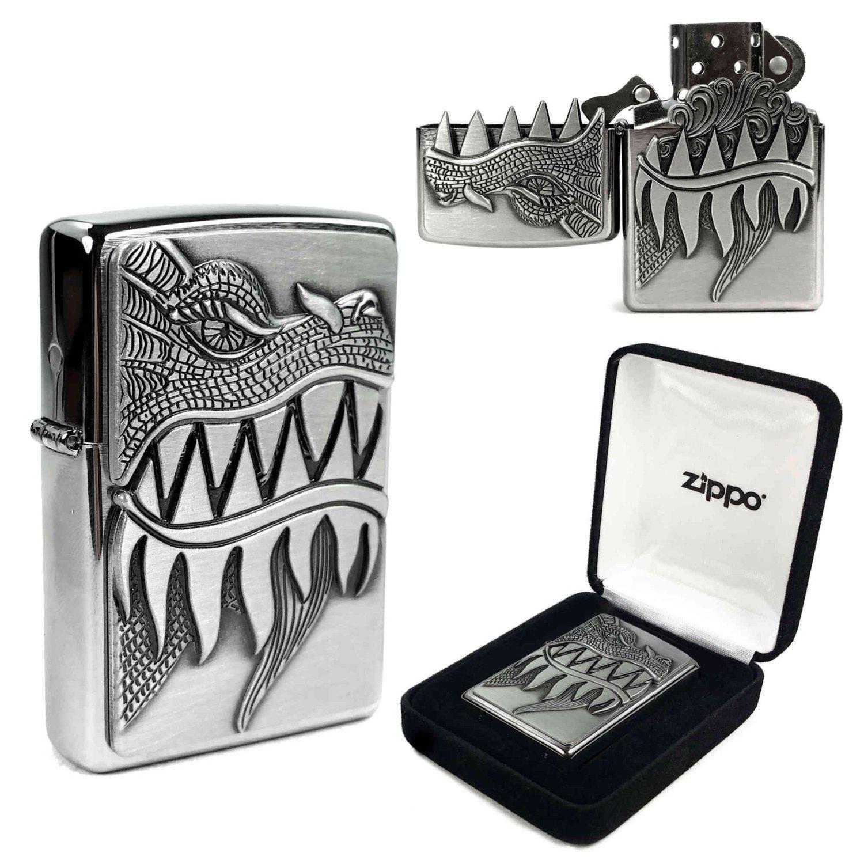 E Cig Smoking Zippo Dragon 28969 Fire Breathing Emblem Design Windproof Lighter Brushed Chrome